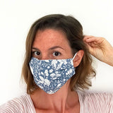 COTTON FACE MASK - Blue Floral