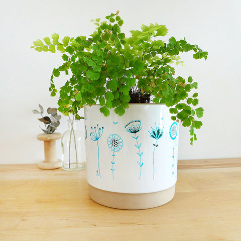 PLANT POT - blue Wildflowers