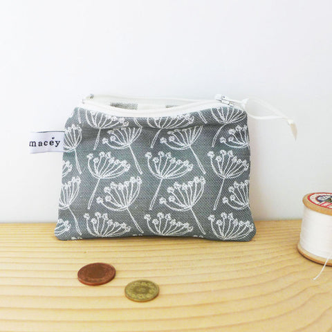 Charcoal Cow Parsley Coin Purse