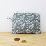 COIN PURSE - cow parsley, charcoal