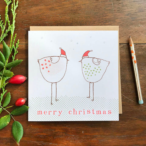 CHRISTMAS CARD - christmas chickens