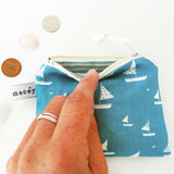 COIN PURSE - sailboats, cornish blue