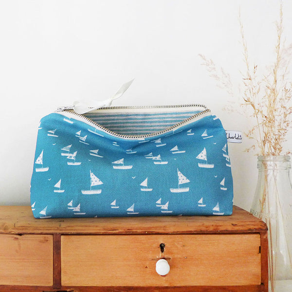 MID POUCH - sailboats, cornish blue