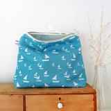 TALL POUCH - Cornish blue Sailboats