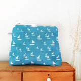 TALL POUCH - sailboats, cornish blue