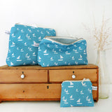 COIN PURSE - Cornish blue Sailboats