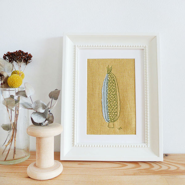 Corn On The Cob Embroidered Linen Picture