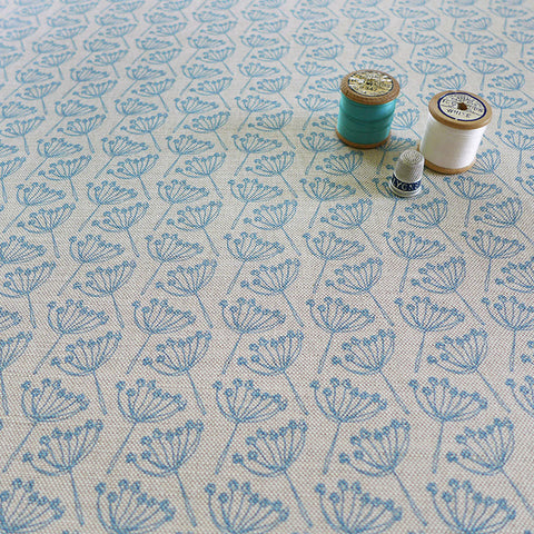 FABRIC - cow parsley, natural cornish blue