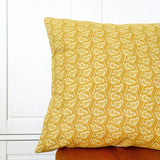 LINEN CUSHION - mustard yellow Cow Parsley