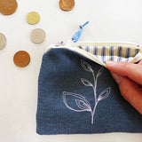 EMBROIDERED COIN PURSE - leaf, blue linen