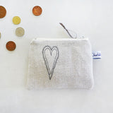 EMBROIDERED COIN PURSE - scandi heart, belgian linen