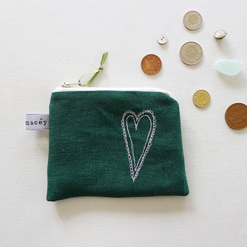 EMBROIDERED COIN PURSE - scandi heart, forest green