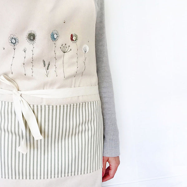 Embroidered Wildflowers Apron