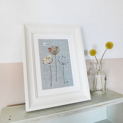 Cow Parsley Embroidered Linen Picture