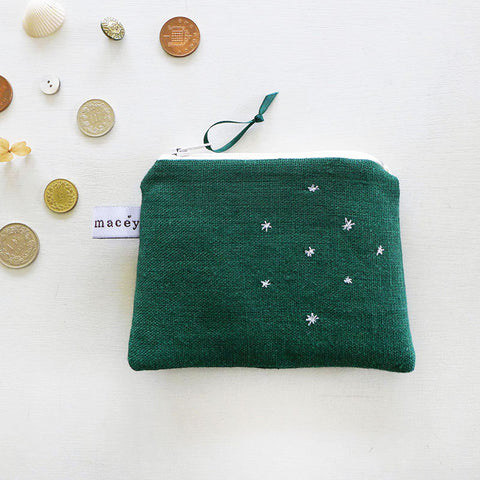 EMBROIDERED COIN PURSE - forest green 'stars'