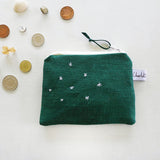 EMBROIDERED LINEN COIN PURSE - forest green Stars