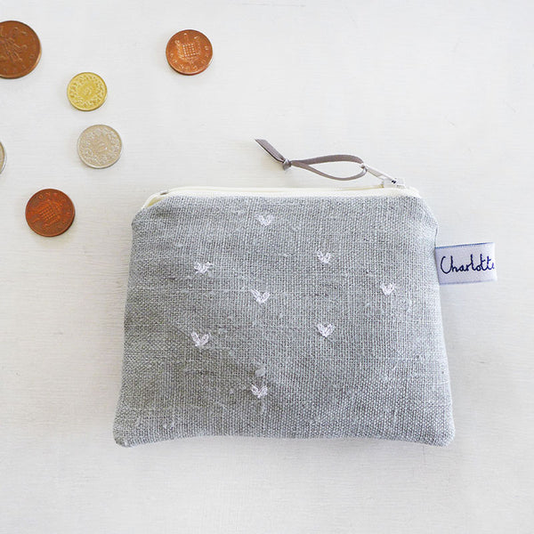 EMBROIDERED COIN PURSE - little hearts, grey linen