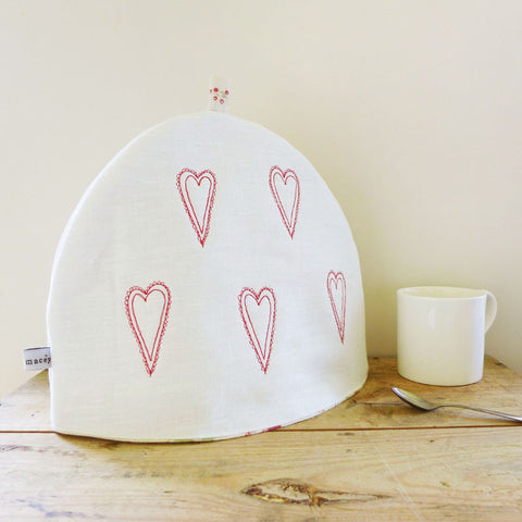 Embroidered Scandi Hearts Linen Tea Cosy