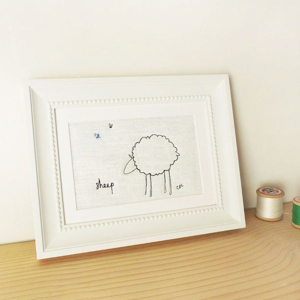 Ivory Sheep Embroidered Picture