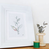 Embroidered Leaf Sprig Personalised Picture