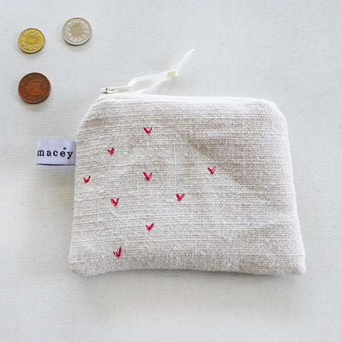 EMBROIDERED COIN PURSE - sprigs, belgian linen