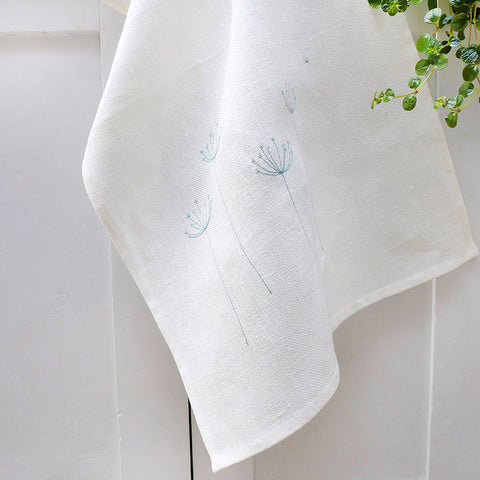 EMBROIDERED LINEN TEA TOWEL - cow parsley