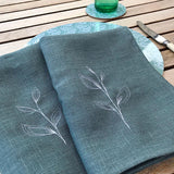 EMBROIDERED LINEN NAPKINS - leaves