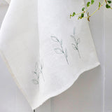 EMBROIDERED LINEN TEA TOWEL - leaves