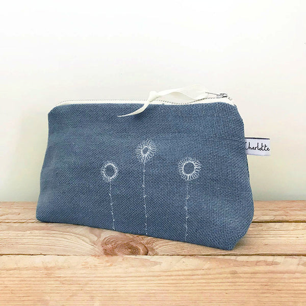 EMBROIDERED MID POUCH - daisies, pale indigo linen