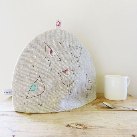 Embroidered Hens Linen Tea Cosy