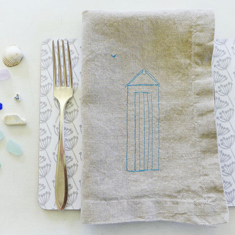 EMBROIDERED LINEN NAPKINS - beach hut