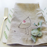 EMBROIDERED LINEN NAPKINS - hen