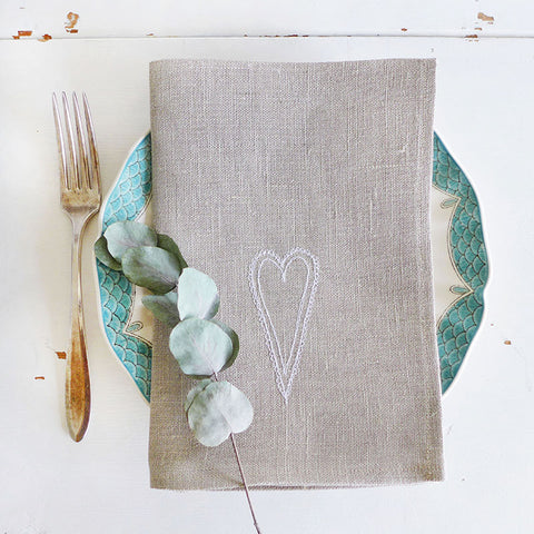 EMBROIDERED LINEN NAPKINS - scandi heart