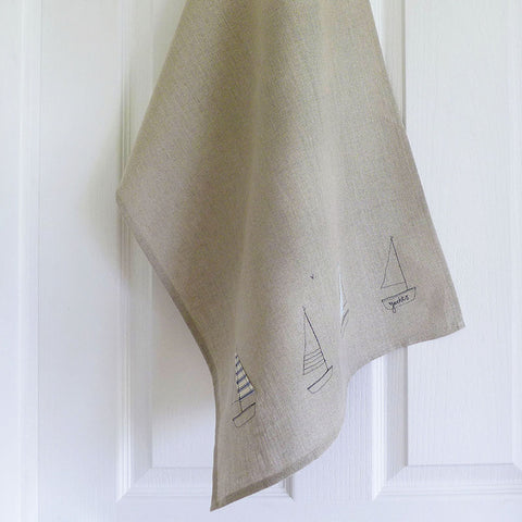Embroidered Linen Yachts Tea Towel