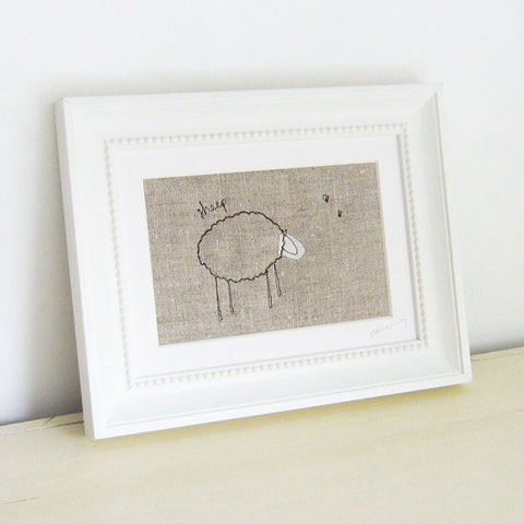 Natural Sheep Embroidered Picture