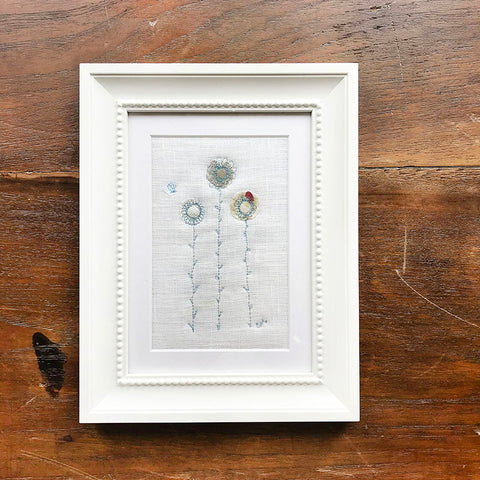 Duck Egg Daisies Embroidered Picture