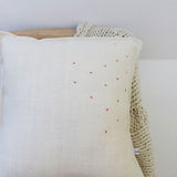 EMBROIDERED LINEN CUSHION - sprigs, red