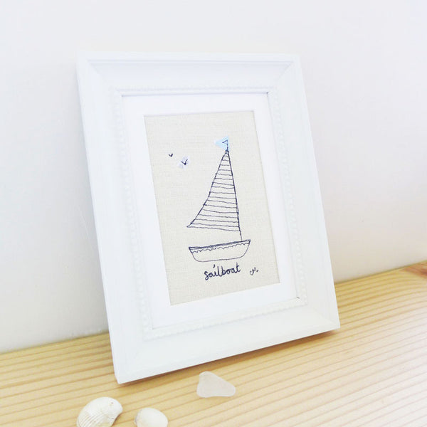 Sailboat Embroidered Picture