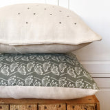 EMBROIDERED LINEN CUSHION - stars, charcoal