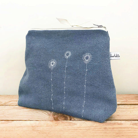 EMBROIDERED TALL POUCH - daisies, pale indigo linen