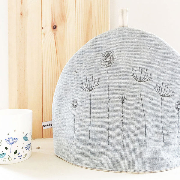 Embroidered Wildflowers Tea Cosy, Light Blue