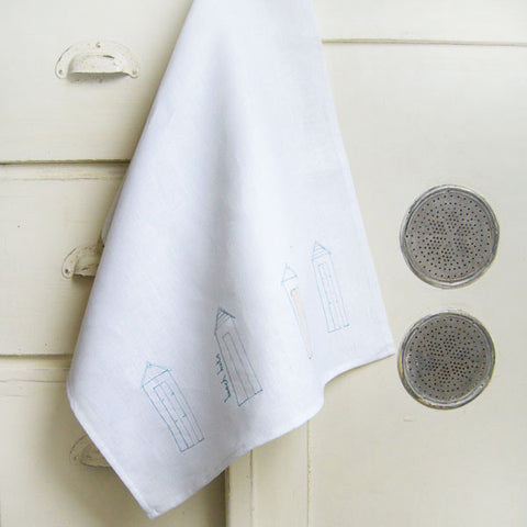 Embroidered Linen Beach Huts Tea Towel