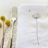 EMBROIDERED LINEN NAPKINS - cow parsley