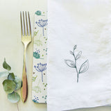 EMBROIDERED LINEN NAPKINS - leaf sprig