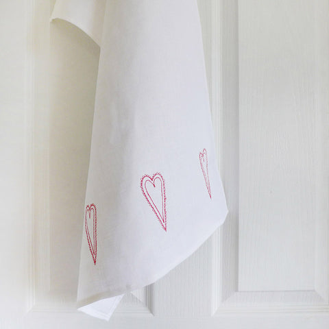 EMBROIDERED LINEN TEA TOWEL - scandi hearts