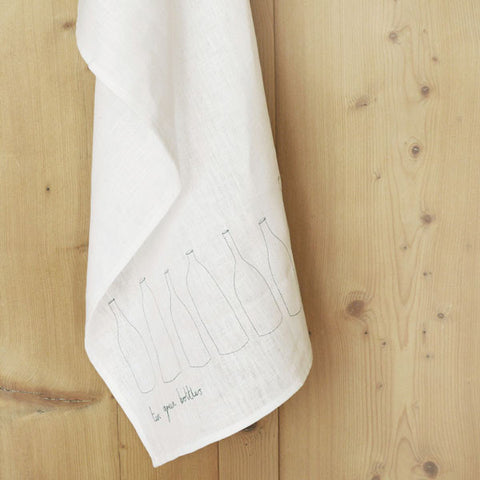 Embroidered Linen Ten Green Bottles Tea Towel