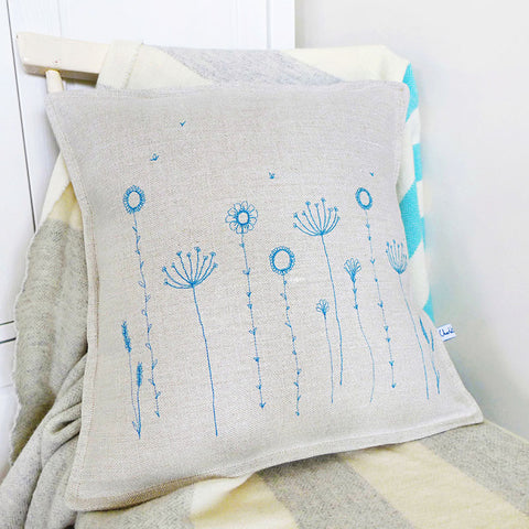 EMBROIDERED LINEN CUSHION - Wildflowers
