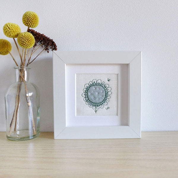 Embroidered Duck Egg Daisy Mini Picture