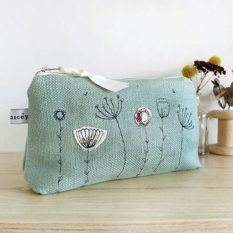 EMBROIDERED LINEN MID POUCH - duck egg Wildflowers