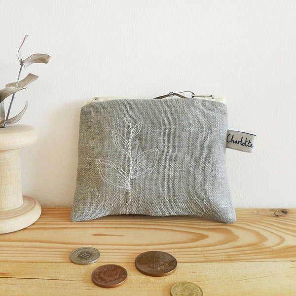EMBROIDERED LINEN COIN PURSE - grey leaves